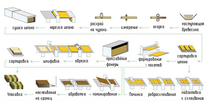 Техпроцесс изготовления фанеры